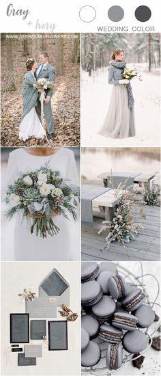 winter grey and cream wedding color ideas #wedding #weddings #weddingideas #weddingcolors #deerpearlflowers