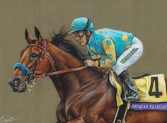 American Pharoah, a Horse of a lifetime, the Triple Crown Winner and just a fantastic dude!  Pastel and pastel pencils, 30×40  #art #artwork #drawing #painting #pastels #horses #horseracing #americanpharoah