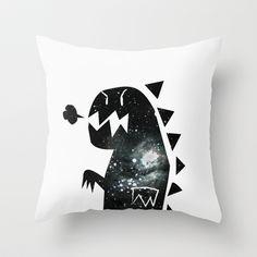 Galactic dinosaur Throw Pillow