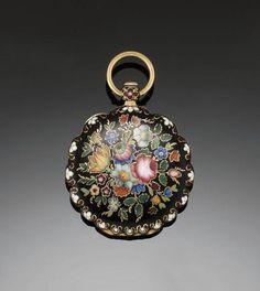 19th century floral enamel fob watch.