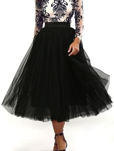 Pleated Tulle Pure Color Gown Midi Skirt