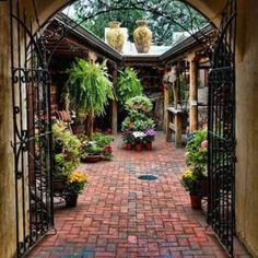 Spanish Courtyard Design With Brick Flooring , Spanish Courtyard Design In Exterior Remodeling Category