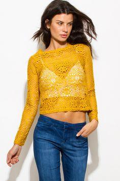 GRACIE BELLA | mustard yellow sheer crochet lace long sleeve boho crop blouse top - 1015store.com