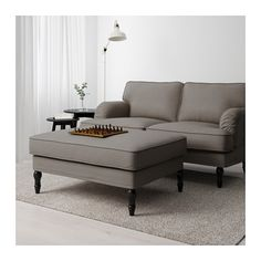 IKEA STOCKSUND footstool Works as an extra seat or a comfortable extension of your sofa. Beige Living Rooms, Home Living Room, Living Room Furniture, Black And Grey Bedroom, Grey And Beige, Grey Yellow, Dark Grey, Padded Coffee Table, Ikea Stocksund