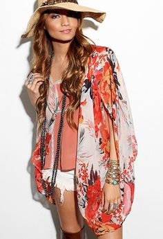 Love this Kimono print Bohemian Kimono, Bohemian Mode, Boho Dress, Bohemian Style, Boho Chic, Boho Outfits, Summer Outfits, Fashion Outfits, Gypsy Style