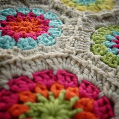 colorful granny hexagons