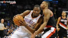 Durant scores 46 as Thunder down Blazers Kevin Durant scored 46 points, his eighth straight game with at least 30, to lead the Oklahoma City Thunder to victory in a division showdown with the Portland Trail Blazers.