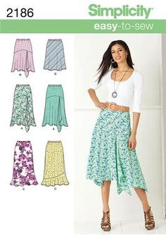 Simplicity pattern 2186: Misses' Skirts. Skirts & Pants sewing patterns.