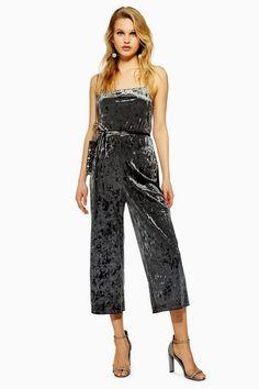 e55e773dfa5 Womens Petite Velvet Jumpsuit - Slate