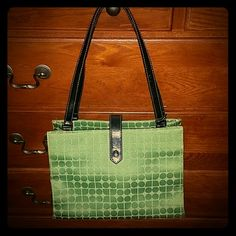 """Kate Spade purse Very clean, loved and well taken care off. Classic dot Noel print. Beautiful Jacquard canvas in emerald green color. Interior zippered pocket. Black leather accents. 10 inch shoulder strap drop length. Measures 10.5"""" x 8"""" x 3.5"""" serial# inside pocket #12324 kate spade Bags Shoulder Bags"""