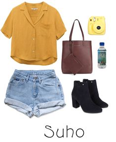 Sightseeing look for with Suho from the kpop group Exo. Discover outfit ideas for weekend made with the shoplook outfit maker. How to wear ideas for Fiji water bottle and Yellow shirt Casual School Outfits, Cute Summer Outfits, Stylish Outfits, Cute Outfits, Kpop Fashion Outfits, Girls Fashion Clothes, Girl Outfits, Mode Kpop, Bts Inspired Outfits