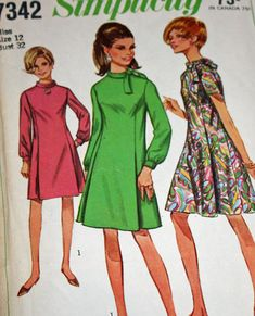 Vintage 1960s Sewing Pattern Simplicity 7342  Misses'