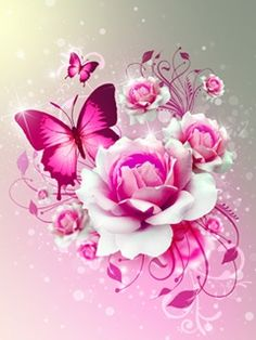 Pink Butterfly Backgrounds | Pink Butterfly landscape wallpaper to your mobile phone download free
