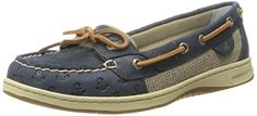 cool Sperry Top-Sider Women's Angelfish Embossed Boat Shoe, Navy Anchors, 8.5 M US