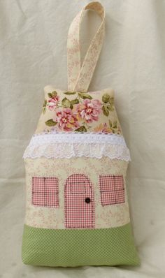 Little Cottage Tooth Fairy Pillow with Lace by CustomMadeByPam