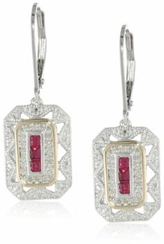 S&G Sterling Silver, 14k Yellow Gold, and Gemstone Art Deco-Style Drop Earrings with Diamond Accents (0.13 cttw, I-J Color, I2-I3 Clarity) « My Brilliant Bauble