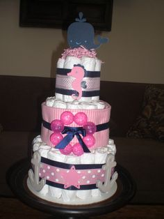 Nautical Girl Whale Seahorse Diaper Cake Baby Shower Centerpiece.