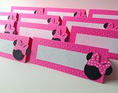 Minnie Mouse Food Labels, Buffet tents, disney food labels, set of 12, PINK