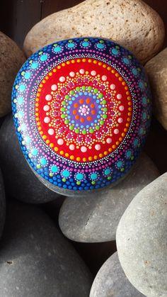 hand painted stone mandala gratitude meditation by RockYourWorld7