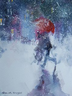 Snowstorm - Walking in Snow with Red Umbrella - Painting by Horsell Woking Surrey Artist Sera Knight