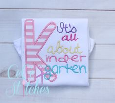All About Kindergarten Applique Design - pinned by pin4etsy.com