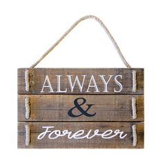 International 'Always and Forever' Brown/Off-white Wood/ Sign