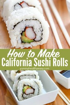Easy California Sushi Rolls Who knew that making California Sushi Rolls at home was easy? Ditch the sushi restaurant and make your own California Rolls in the convenience of your own home! Shrimp Sushi Rolls, Easy Sushi Rolls, Homemade Sushi Rolls, Cooked Sushi Rolls, Avocado Rolls Sushi, Avocado Sushi Recipe, Veggie Sushi Rolls, Making Sushi Rolls, Easy Rolls