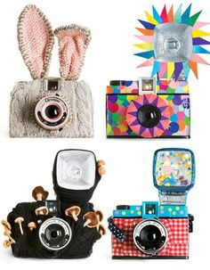 Absolutely adorable camera cases for your Lomo, Holga Dianas! I particularly love the knitted bunny ears and the string mushroom ones, too cute! Lomo Camera, Camera Art, Camera Decor, Frankie Magazine, Cute Camera, Photo Deco, Camera Cover, Photo Images, Holga