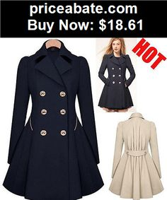 Women-Coats-And-Jackets: Women Ladies Cashmere Wool Long Winter Parka Coat Trench Outwear Jacket H - BUY IT NOW ONLY $18.61