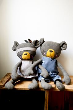 Handmade Bear Cloth Dolls by Peanut And Elliott