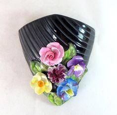 Art Deco SylvaC Vase, Vintage Handpainted Applied Flower Glossy Black Glazed Pottery Wall Pocket Posy Vase 1950s by keepsies on Etsy - £29.95