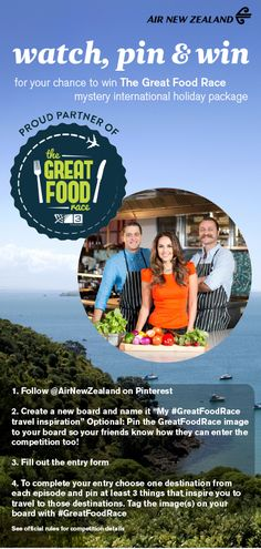 Watch, Pin and Win with the Great Food Race! New Television, International Holidays, Air New Zealand, The Gr, Fiji, Great Recipes, Travel Inspiration, Travel Destinations, Places To Visit