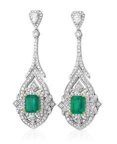 earrings, drop earrings, chandelier earrings, emerald and diamond earrings