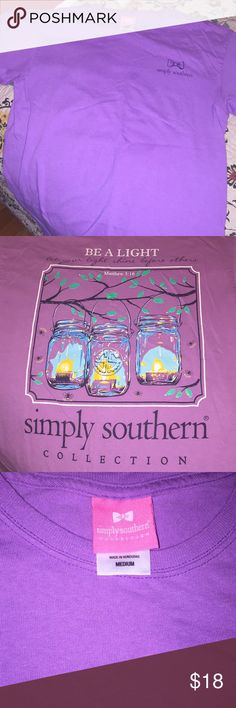 """Simply Southern T-shirt """"Be the Light"""" purple Simply Southern, size medium. Excellent condition. Simply Southern Tops Tees - Short Sleeve"""