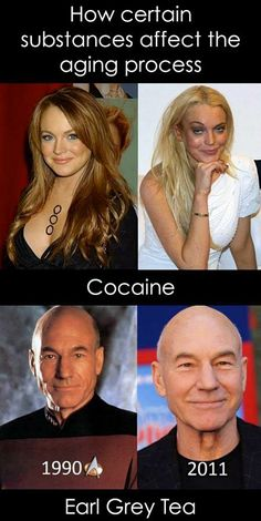 Lindsay Lohan and Patrick Stewart aging process - Funny comparison of aging with different substances -- Lindsay Lohan with cocaine and Patrick Stewart with Earl Grey Tea. Mean Girls, Johnny Depp, Parent Trap, Patrick Stewart, Funny Memes, Jokes, Memes Humour, Funny Ads, Geek Humor
