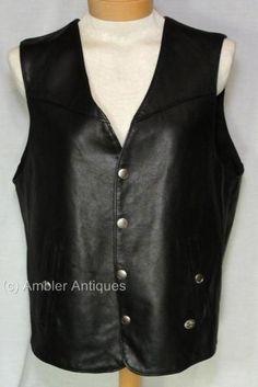 HARLEY DAVIDSON Original MEN'S Black Leather VEST Size Large L | eBay