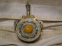 Moroccan Brass Powder Flask Turquoise Amber Coral