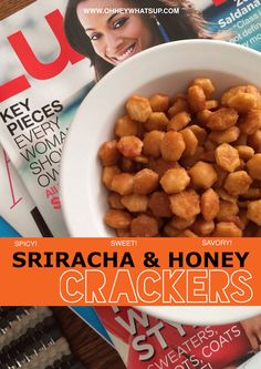 Sriracha and Honey Crackers - Oh Hey: spicy oyster crackers made with melted butter, honey, and Sriracha sauce. Oyster Cracker Snack, Seasoned Oyster Crackers, Spicy Crackers, Homemade Crackers, Snack Mix Recipes, Recipes Appetizers And Snacks, Savory Snacks, Easy Snacks, Yummy Snacks