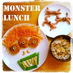 Funny Food Friday: pasti mostruosi - monster meals it's a good idea for Funny Food, Food Humor, Bento, Friday, Pasta, Lunch, Kid, Meals, Vegetables