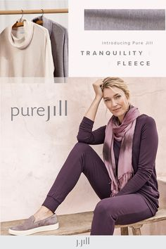 Introducing Pure Jill Tranquility fleece, our ultrasoft brushed fabric with four-way stretch. Fall never felt so good. Cool Outfits, Summer Outfits, Fashion Outfits, Everyday Casual Outfits, Cowl Neck Dress, Fleece Joggers, Two Piece Dress, White Pants, Woman Fashion