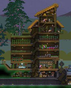 Terraria House Design, Terraria House Ideas, Minecraft Blueprints, Minecraft Houses, Construction Games, Crafting Recipes, Minecraft Architecture, Minecraft Creations, Pixel Art