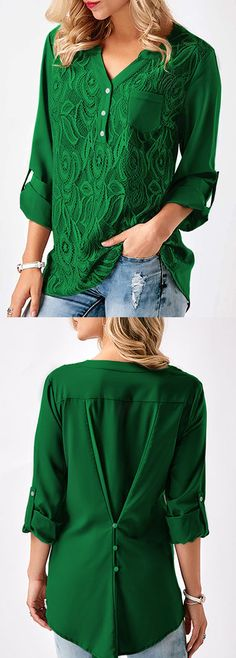 Lace Panel Roll Tab Sleeve Green Blouse.