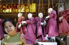 Puppets hanging at the door of a shop in Pagan, Myanmar