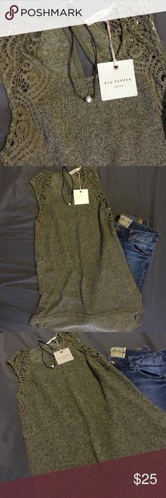 Anthropologie Olive lace dream Blu pepper top❤️ Super cute detailed fall too longer in the back. New w tags size small. Olive green Blu Pepper Tops