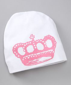 Look what I found on #zulily! White & Pink Crown Beanie by pinkaxle #zulilyfinds