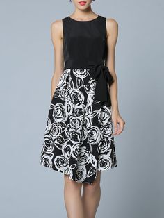 8cd742239b8ce Look at this Black   White Floral Tie-Sash Sleeveless Dress on today!