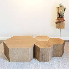 Hexagon Wood Modern Geometric Table- Natural - Hammers and Heels  - 1