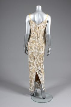 Ramon Valera cloth of gold and white lace evening gown or `Terno', Philippines, the columnar gown embellished overall with gold elliptical beads, white seed beads and pearl droplets to the hem, with matching gold shoes Ramones, Lace Evening Gowns, Gold Shoes, Filipino, White Lace, Seed Beads, Philippines, 1960s, Women's Clothing