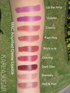 Mac Amplified Creme Lipstick Swatches. I especially like CRAVING, DARK SIDE, BRICK-O-LA and HALF & HALF