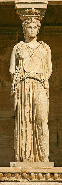"A ""caryatid"" is a sculpted female figure serving as an architectural support taking the place of a column or a pillar supporting an entablature on her head. Apparently you can go even further by calling this a ""canephora"" (basket-bearer) due to the basket on her head! (Acropolis, Athens)"